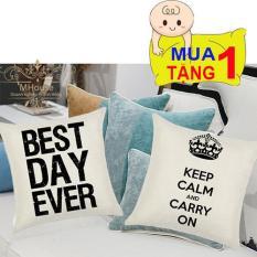 Combo 2 Vỏ Gối,Áo Gối,Bộ Vỏ Chăn Ga Gối,Gối Tựa Lưng.Gối Ngủ,Bộ Vỏ Chăn Ga Gối Đệm,Gối SoFa (không kèm ruột gối) (MẪU 3 Keep Calm Carry On – Best Day Ever)