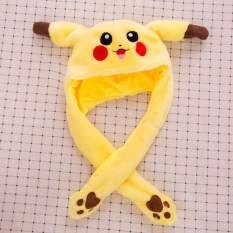 Nón tai thỏ giật mũ tai thỏ giật cao cấp hình Pikachu