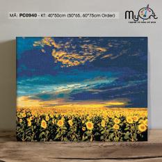 Tranh tự tô màu theo số sơn dầu số hóa Gam Đồng hoa hướng dương PC0940