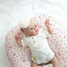 Gối chống trào ngược cho bé chính hãng Rototo bebe – Hoa thỏ hồng loại Ripple thiết kế mới giấu khóa