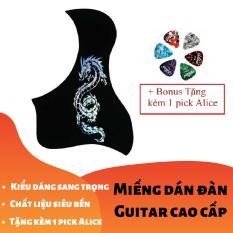 [RẺ GIẬT MÌNH] Miếng dán cao cấp trang trí, bảo vệ đàn Ghi-ta 3D Rồng Thần vàng bạc (Guitar PickGuard) – Tặng kèm 1 pick Alice