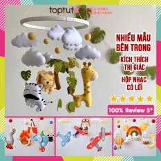 Treo nôi cũi xe đẩy cho bé Toptutoe xoay phát nhạc kích thích thị giác trẻ sơ sinh, trẻ nhỏ, bé trai bé gái