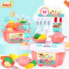 Bộ nấu ăn cho bé, Bộ đồ chơi nấu ăn 22 chi tiết kèm bàn bếp và tủ bếp bằng nhựa nguyên sinh ABS an toàn cho bé yêu hóa thân thành cô đầu bếp đảm đang Baby-S – SDC015