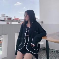 ( Hot Trend ) Áo Nỉ Ngoại Cadigan Phối Cúc Kiều Tàu Kèm 2 Túi Lỡ Siêu Siêu Xinh. TP
