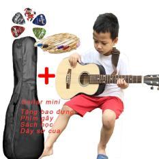 Đàn guitar acoustic mini size 1/2 tặng kèm bao đựng,phím gãy,sách học,dây sơ cua