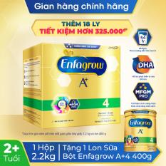 [GIẢM THÊM 40K] [FREESHIP 30K TOÀN QUỐC] Sữa bột Enfagrow 4 cho trẻ trên 2 tuổi 2.2g (4 túi thiếc 550g) + Tặng 1 lon sữa bột Enfagrow 4 400g