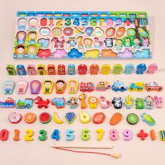 Bộ đồ chơi câu cá nam châm 63 chi tiết, đồ chơi phân biệt hình học, ghép hình chữ cái, giúp bé học tiếng anh, đồ chơi phát triển trí thông minh giúp bé vừa học vừa chơi hiệu quả