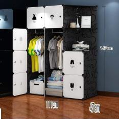 Tủ nhựa lắp ghép thông minh bibi-home 12 ngăn đen áo