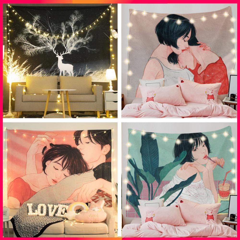 [Tặng đèn 7M] Thảm treo tường, decor phòng ngủ size 150×130 cm, vải treo tường vintage, tranh vải treo tường, trang trí phòng ngủ cute tặng phụ kiện treo dễ dàng