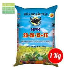 1KG Phân bón NPK Đầu Trâu 20-20-15 + TE (bán lẻ từ bao 50kg) cho hoa kiểng (hồng, mai, bon sai…), rau màu, cây ăn trái