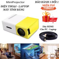 Máy chiếu phim Mini cho điện thoại laptop YG-300 hỗ trợ độ phân giải lên đến 1920 x 1080 pixel dã ngoại, giải trí cho trẻ em Tặng Dây HDMI 1,5 Mét và dây Audio 1,5 mét