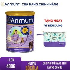 [GIẢM 25 ĐƠN 449TR]Sữa bột Anmum Materna hương Sô-cô-la 400g tặng Ví anmum