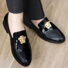 Giày lười nam già rẻ-DA BÓNG chất liệu da pu cao cấp đế cao su mã l182