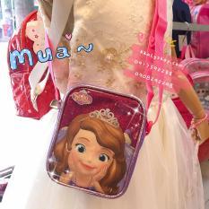 Túi đeo chéo hình công chúa Sofia kim tuyến màu hồng tím cho bé gái (Thái Lan) – 220SFNG3006112 – (15x4x11cm)
