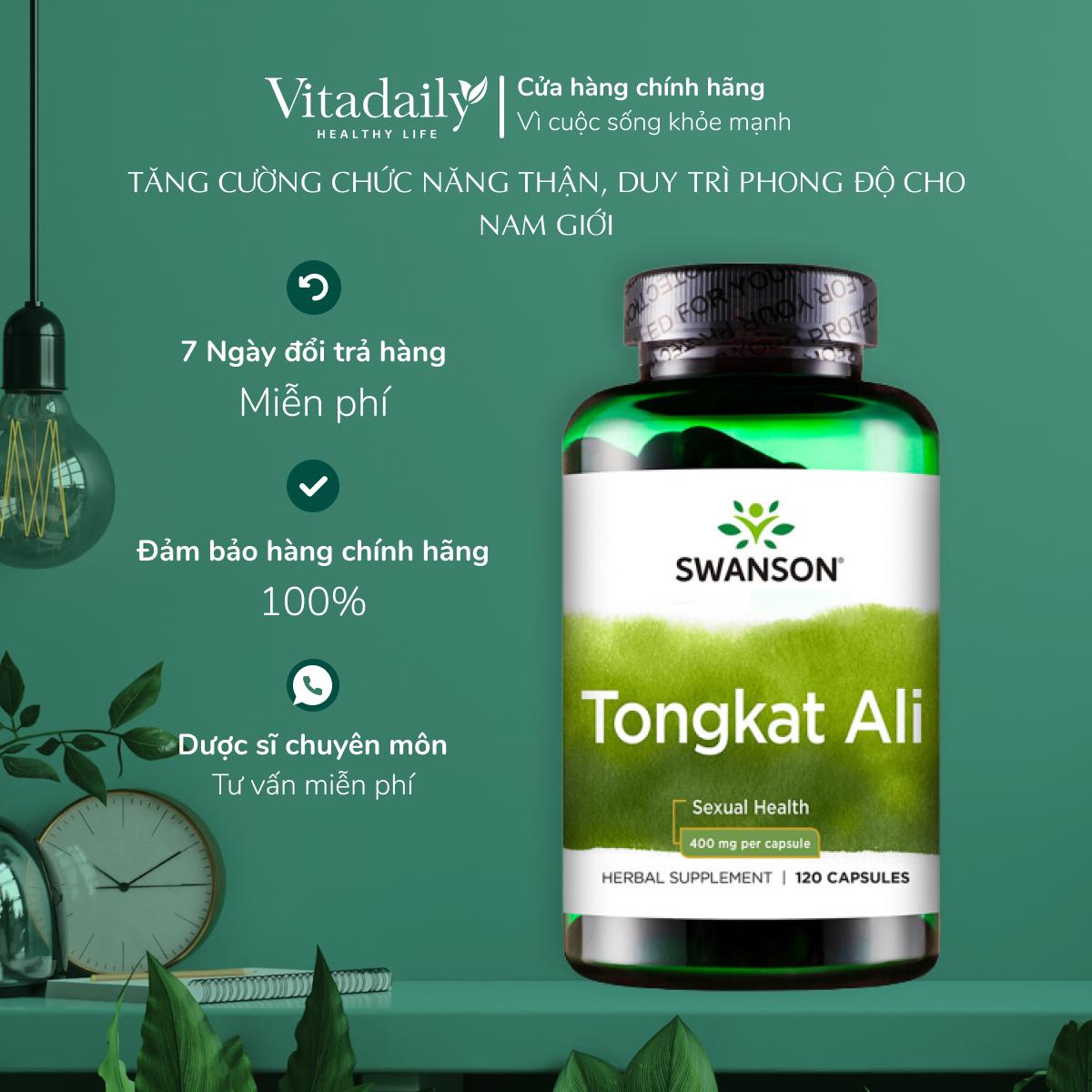 Viên uống tăng cường sinh lý Swanson Tongkat Ali 400mg 120 viên