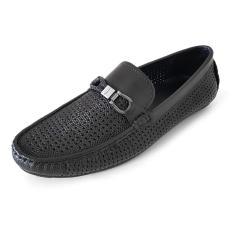 Giày Mọi Nam Giày Mùa Hè Nam Da Bò Thật Khắc Laser Siêu Đẹp Thoáng Mát Ensado MH0616 (Đen – Nâu)