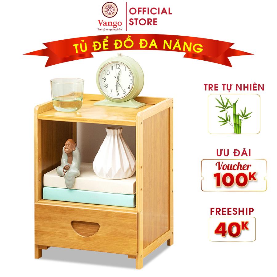 Tủ đầu giường thông minh VANGO V26 gỗ tre tự nhiên cao cấp, Kệ để đồ phòng ngủ đa năng, Phong cách Âu Á hiện đại, sang trọng