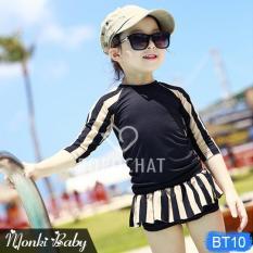 Bộ bơi 2 mảnh bé gái, mầu đen trắng tinh tế, kèm turban buộc