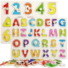 Bộ 2 bảng chữ cái và số hình khối có núm cầm bằng gỗ cho bé