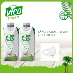 2 HỘP DỪA XIÊM VICO FRESH 330ML – tặng 1 khẩu trang VICO FRESH