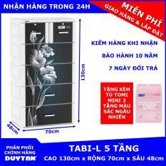 Tủ nhựa Duy Tân TABI-L 5 tầng (Đen) tặng Tủ TOMI MINI 3 tầng – chất liệu nhựa PP/ABS, kiểu dáng hiện đại, thiết kế tiện lợi, kích thước 70 x 48 x 130cm