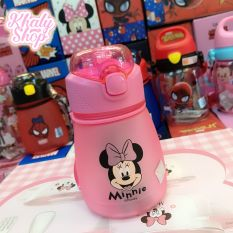 Bình nước nhám hình chuột Minnie màu hồng siêu xinh cho trẻ em, bé gái – 390ml – 60NSFF3267