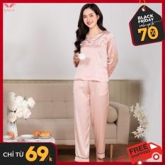 Bộ đồ ngủ dài tay quần dài pijama lụa cao cấp Vingo cổ tim phối viền nổi bật nhiều màu H212 VNGO