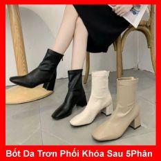 Giày boot nữ cổ cao thời trang gót vuông cao cấp – Giày gót vuông nữ cao 5cm – Giày nữ da mềm 2 màu Trắng Kem