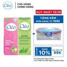 Combo kem tẩy lông chiết xuất bơ Cleo đa vùng dành cho da nhạy cảm 50g và Gel dịu da chiết xuất trà xanh Cleo giúp chậm mọc lông 50g, an toàn, không đau và đạt hiệu quả nhanh chóng