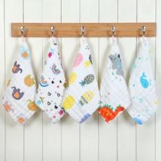 Set 5 khăn mặt, khăn sữa sợi tre organic 6 lớp nhiều họa tiết cho bé trai bé gái sơ sinh – K6