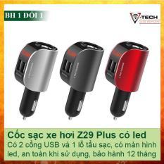 Cốc sạc điện thoại trên xe hơi Hoco Z29 plus có led