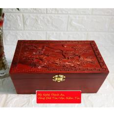 Hộp đựng con dấu,trang sức,tiền,gỗ hương quý hiếm mặt trạm tích chim hạc du xuân HDM03