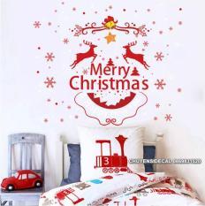 Decal dán tường Noel – Trang Trí giáng sinh họa tiết đỏ