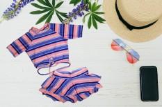 Bộ đồ bơi bé gái ngắn tay quần giả váy đáng yêu 30-41kg – Đồ bơi 2 mãnh vãi sọc – Đồ bơi trẻ em – Hương Nhiên