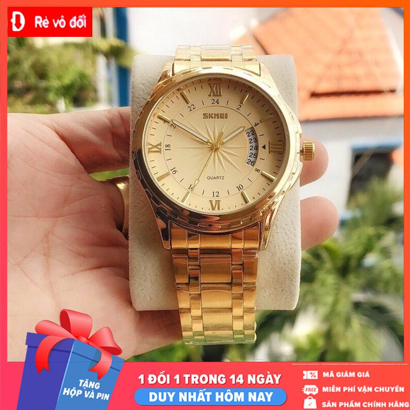 Tặng kèm hộp và Pin – Đồng hồ nam SKMEI thời trang lịch lãm sang trọng, mặt kính dây thép kim loại đúc đặc chính hiệu – Sam's Shop
