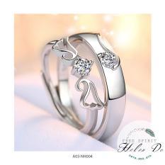 Nhẫn cặp valentine tình yêu bạc 925 hình cánh đá trắng