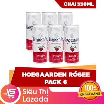 [Siêu thị Lazada] Lốc 6 lon Hoegaarden Rosee (330ml/lon) – thành phần tự nhiên hương vị trái cây tươi mát ngọt ngào hoàn hảo