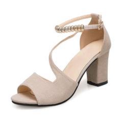 Giày Cao Gót, Giày Nữ 7p Da Lộn Vòng Cổ Hạt Vuông LAVA LZ001 Thiết Kế Sang Trọng, Điệu Đà, Trẻ Trung, Hợp Trend 2021