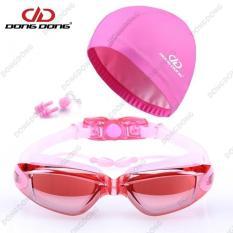 Bộ kính bơi tráng GƯƠNG DD66 – gồm Mũ bơi, Bịt tai kẹp mũi cao cấp – DONGDONG