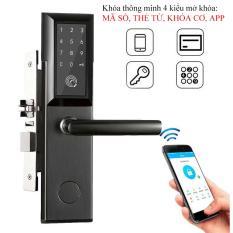 Khóa cửa điện tử thông minh khóa chống trộm dùng APP- Khóa thẻ từ, Khóa mã số Khóa cơ- Kết nối Bluetooth – Bảo hành 12 tháng – Hỗ trợ lắp đặt và cài đặt – Mở bên phải