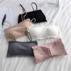 Áo bra 2 dây cotton viền ren, bra thun tăm mềm thoáng mát