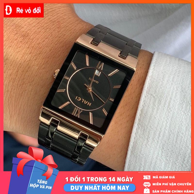 [MIỄN PHÍ GIAO HÀNG] Đồng hồ nam Halei dây đen mặt vuông đen lịch lãm sang trọng- Đồng Hồ Nam – Tặng hộp và pin dự phòng – Sam Shop