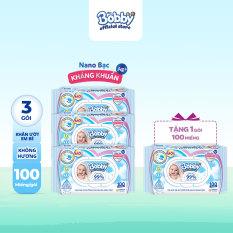 [Tặng THÊM 1 GÓI CÙNG LOẠI] Bộ 3 gói khăn giấy ướt trẻ em Bobby Care Nano Bạc kháng khuẩn KHÔNG MÙI HƯƠNG 100 miếng – Giới hạn 5 sản phẩm/khách hàng