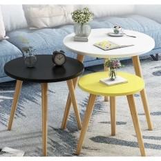 Bàn trà tròn sofa vintage, chân gỗ tự nhiên sơn PU, cao 48cm để ngồi ghế sofa. (Mặt 40, 50 và 60 cm).