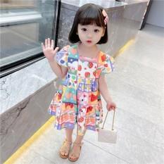 Váy cổ vuông nhiều màu bắt mắt cho bé gái