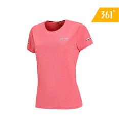 361 Degrees Áo thun thể thao tay ngắn cho chạy bộ mùa hè lưới khí (Xanh / hồng) 562022031A