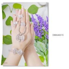 Bộ trang sức nữ mạ Bạc Nơ Đính Đá Sáng Lấp Lánh thiết kế tinh tế sang trọng – MYKA Shop – DB8644315 – đeo làm công sở cực sang chảnh và quý phái
