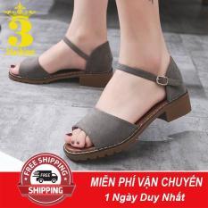 [Mẫu HOT⚡] Giày Sandal Nữ Da Mềm Gót Vuông 3,5CM Thiết Kế Trẻ Trung – 2923