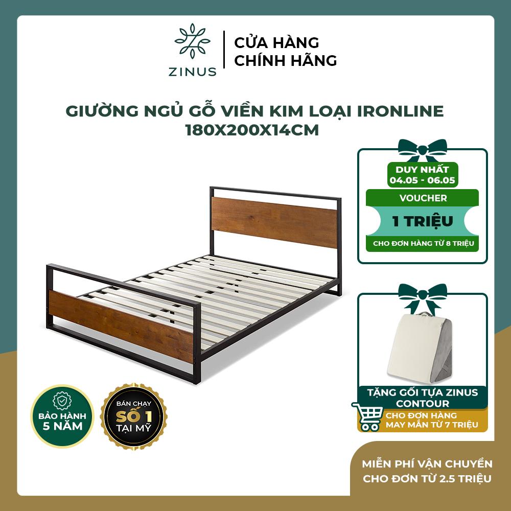 [VOUCHER 1 TRIỆU + FREESHIP] Giường gỗ Zinus viền khung kim loại/ Ironline Hybrid Frame King 180x200x14cm