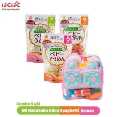 [ Tặng balo đồ chơi nhà bếp ] Combo 3 gói mì ăn dặm Hakubaku Baby Somen + Spaghetti + Udon